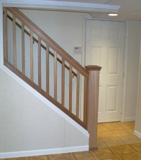 Renovated basement staircase in Drummondville