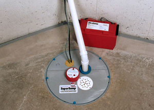 A sump pump system with a battery backup system installed in Joly